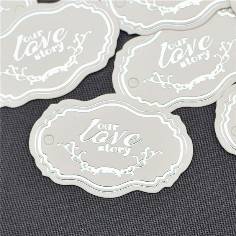 Simple silver English fashion patch wedding candy bag paper tags gifts Packaging Labels Wedding gifts for guests(China (Mainland))