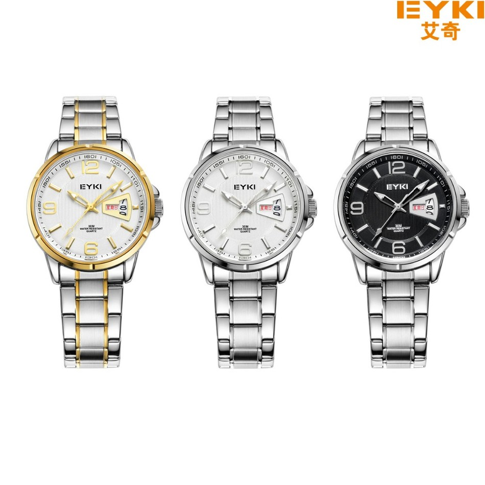 Brand EYKI 30M Waterproof  Business Stainless Steel Wristwatch with Calendar and Week Large Digital Scale Men's Quartz Watches