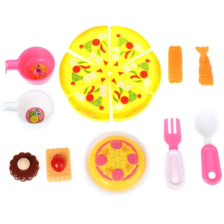 Plastic Kitchen Party Simulation Lovely Pizza Sushi Food Cooking Cutting Pretend Play Kids Early Development Non-toxic Toy Set(China (Mainland))