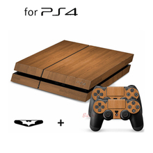 For PS4 Sticker Slim Wood Grain Vinyl Skin Sticker Decal + 2 Free Controller Skins for PS4077