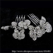 Luxury Wedding Orchid Flower Hair Comb Tiara Clear Rhinestone Crystal Bridal Hair Accessories For Women Jewelry Free Shipping