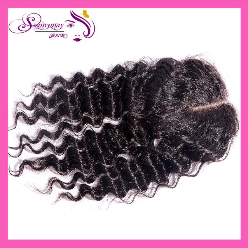 Фотография Cheap Silk Base Closures In Stock Peruvian Virgin Hair Deep Wave Middle Part Style Human Hair Silk Lace Closure