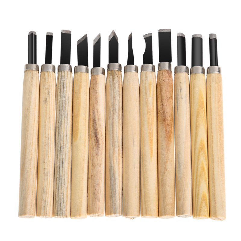 Free shipping High Quality 12pcs/Set Hand Wood Carving Chisels Knife For Basic Woodcut Working DIY Tools(China (Mainland))