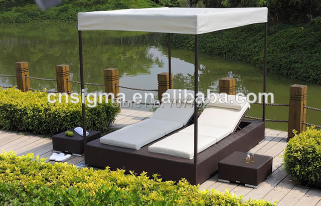 2016 beautifully outdoor rattan latest double bed designs(China (Mainland))