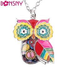 Buy Bonsny Maxi Statement Metal Alloy Enamel Jewelry OWL Necklace Chain Collar Choker Pendant 2016 Fashion New Women Owl Jewelry for $4.89 in AliExpress store