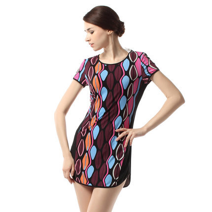 2015 new style lady round collar printed euramerican dress short sleeves summer t0274 - The silk road Online Store 519062 store