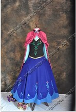 Free shipping new Adult Clothing women Party Dress New Edition Deluxe Princess Elsa Anna Cosplay Dress with hat and gloves