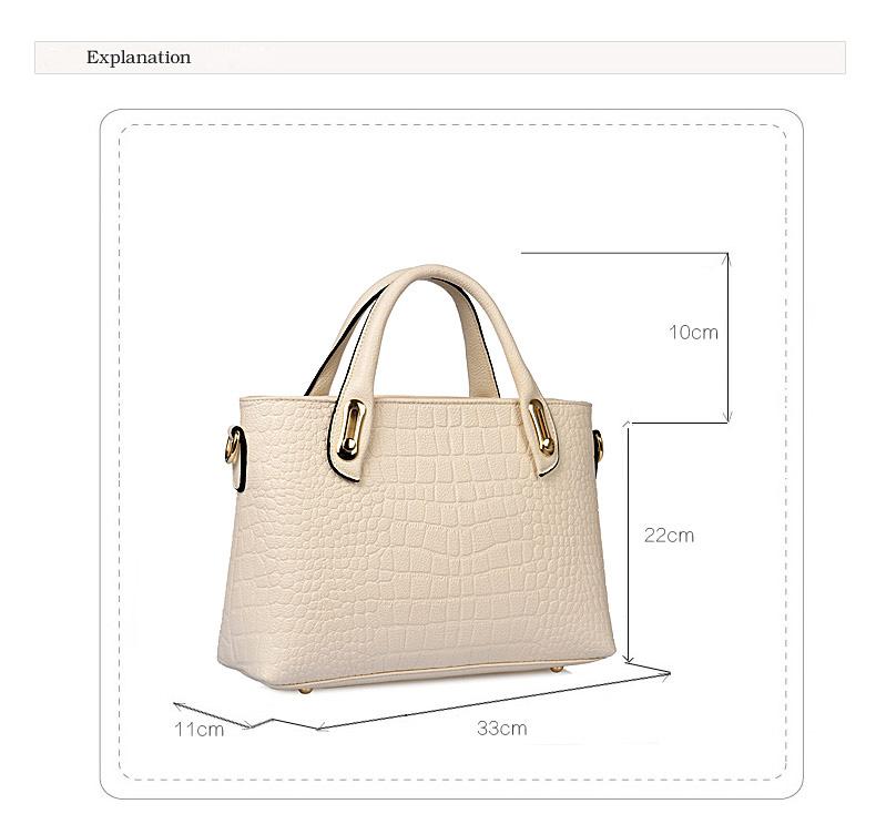 Elegant Luxury 2016 New Ladies Handbag Fashion Crocodile-print Simple Crossbody Bag Large Capacity Designer Elegant Shoulder Bag