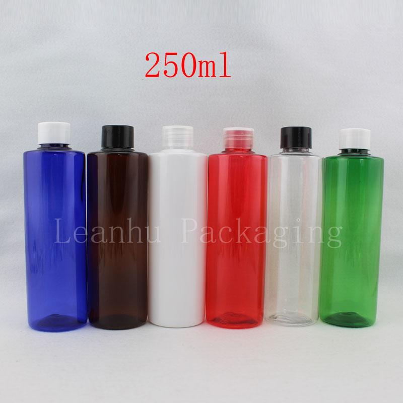 250 ml vacía de color champú loción cosmética botella, PET recipiente de plástico con tapón de rosca, 250cc cosméticos vacíos contenedores(China (Mainland))