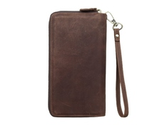 retro personality designer Mens long Wallet High Quality Card Holder crazy horse Leather Double zipper wallet