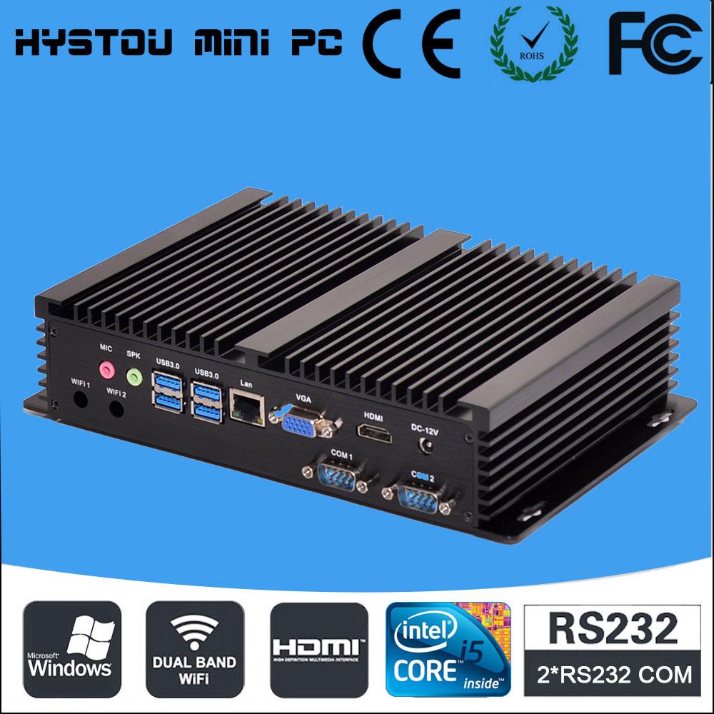 [CE&FCC&ROSH] Mini Computer Fanless Mini PC Windows 10 Core i5 4200U Dual LAN 4*RS232 industrial PC Rugged PC Mini Computador(China (Mainland))