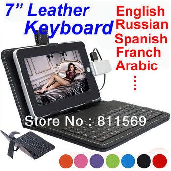 "Free shipping 7"" keyboard case USB HOST,MINI or Micro, support Russian,Portuguese,Turkish,Arabic ,Italian ,German,ect"