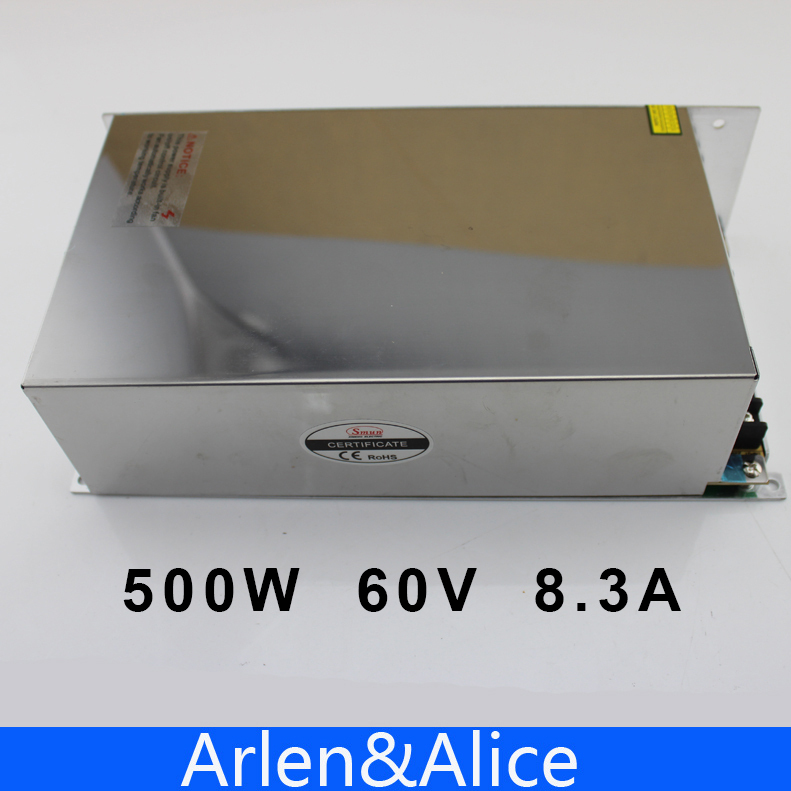 500W 60V 8.3A 220V INPUT Single Output Switching power supply for LED Strip light AC to DC<br><br>Aliexpress