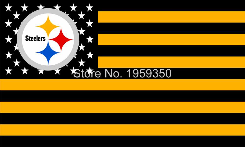 Pittsburgh Steelers Official Football Team 3X 5ft Flag with US star stripe(China (Mainland))