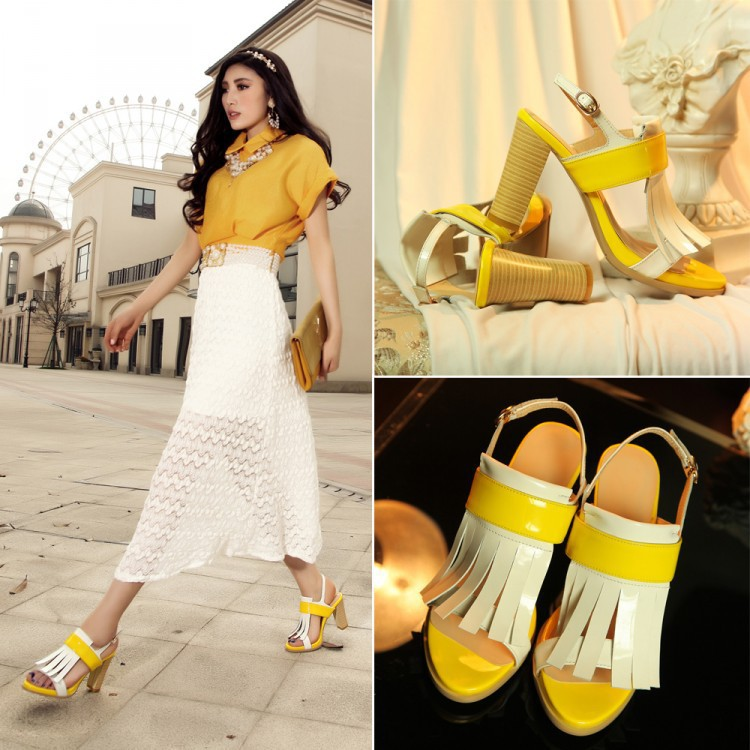 Factory direct summer open-toed shoes with thick leather sandals fish head new Korean fashion 2015<br><br>Aliexpress