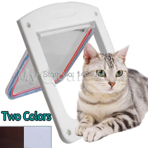 Brand New Lockable Cat Flap Door Kitten Dog Pet Lock Heavy Duty suitable for any wall or door Large size Brown White color(China (Mainland))
