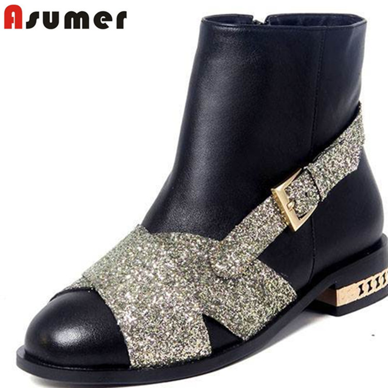 Cowhide high quality genuine leather black gold low heels ankle boots round toe buckle rhinestone fashion women boots<br><br>Aliexpress