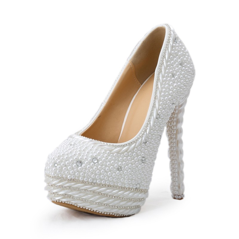 Gorgeous Vogue White High Heels Pearl  Wedding Shoes Handmade Round Toe Bridal Dress Shoes Women Party Prom Shoes Platform Pumps