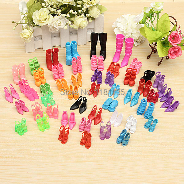 60 Pairs Trendy Mix Assorted Doll Shoes Multiple Styles Heels Sandals For Barbie Dolls Free Shipping(China (Mainland))