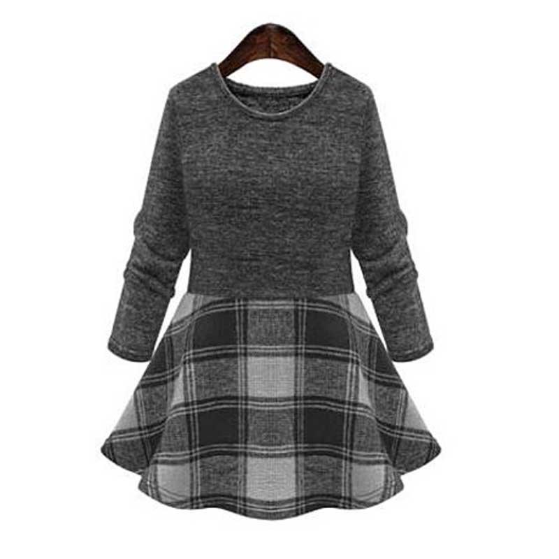 Winter Warm Women Dress Fashion New Scottish Checks Print Patchwork Splice Long Sleeve Bodycon Casual Lady Party Dress(China (Mainland))