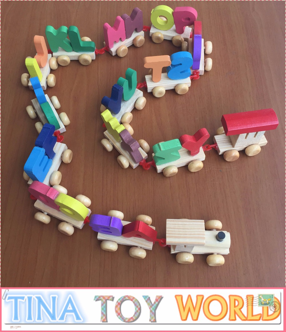 Free shipping 26 English Letters Cognitive Small Train Baby Early Childhood Educational Wooden Toys(China (Mainland))