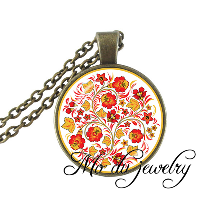 2016Vintage Chinese Red Flower Pendant Glass Cabochon necklace silver plated chain statement necklaces flower Jewelery wholesale(China (Mainland))