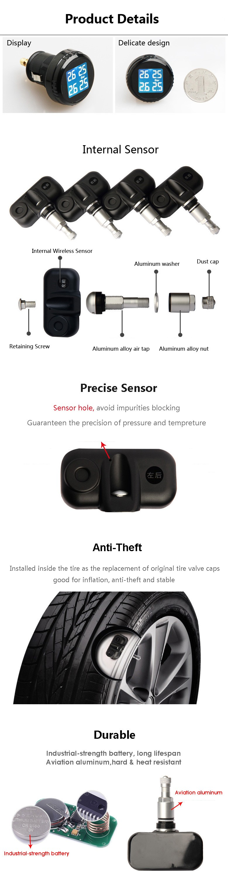 Car Tyre Pressure Monitoring System with 4 Sensors Internal Wireless TPMS Car Safety Products Cigarette Lighter Adapter