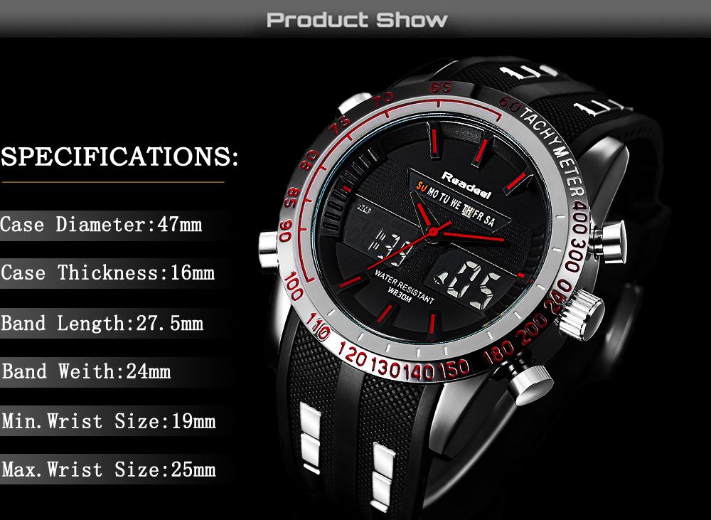 Роскошные брендовые часы мужские спортивные водонепроницаемый светодиодный 02