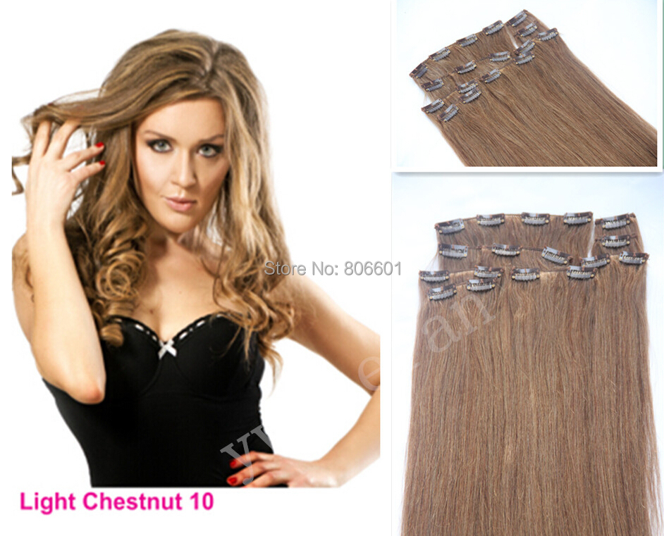 #10 ash brown 24-34 12pcs 300g Luxury Thick  Full Head 100% Real Straight Brazilian Virgin Remy Hair Human Clip in Extension<br><br>Aliexpress