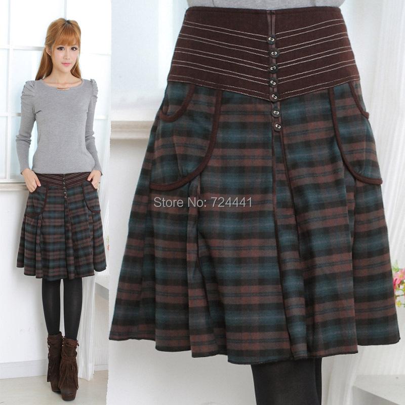winter skirt new fashion plaid skirts plus