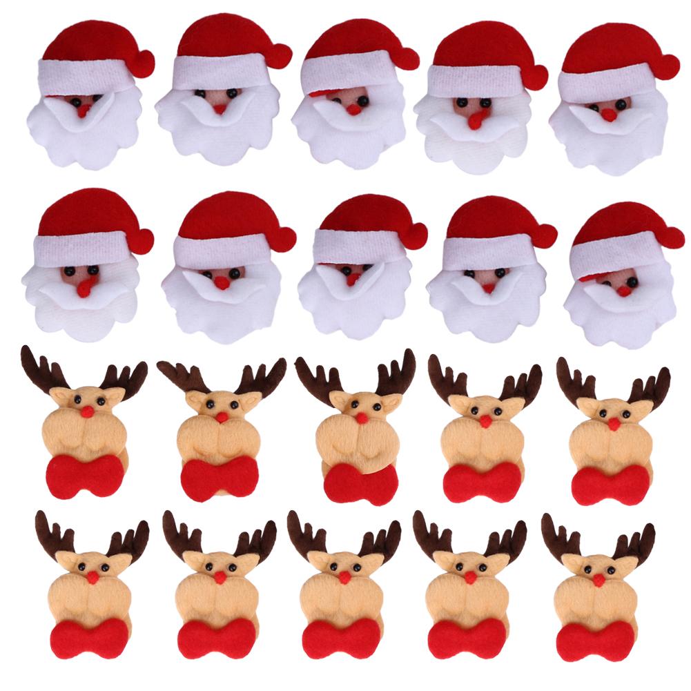 10pcs Felt Appliques Santa Claus Shape Patch Padded 3D Felt Appliques 70mm*60mm Christmas Decoration(China (Mainland))