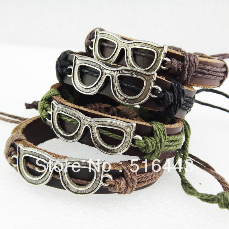 12pcs Wholesale Fashion Jewelry Lots Leather Antique Silver Plated Glasses Women Mens Bracelets Bangles A-777(China (Mainland))
