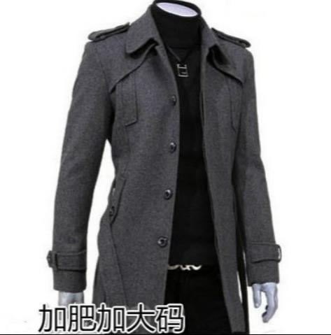 Black grey long sleeve single-breasted wool coat men winter jacket overcoat mens cashmere coat peacoat belt plus size S - 9XL(China (Mainland))