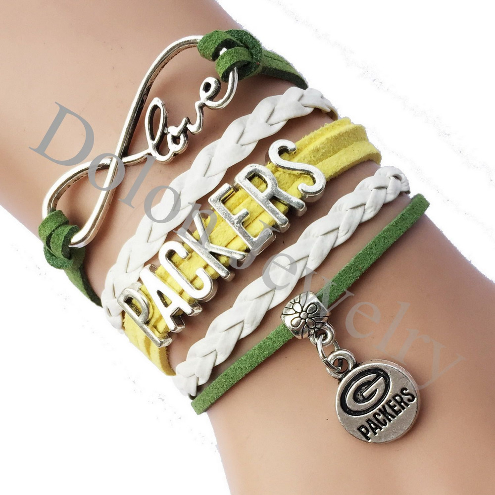 Infinity Love Green Bay Packers Football Team Name Bracelet NFL American College School Custom Green with White Leather(China (Mainland))