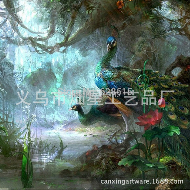 the Peacock in forest DIY diamond painting by numbers embroidery diamond painting Needlework decoration painting Free shipping(China (Mainland))