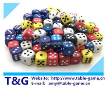 100 шт./компл. 16 мм высокое качество красочные азартные игры в кости с точками, Rpg кости, Катить кости закругленные углы кости