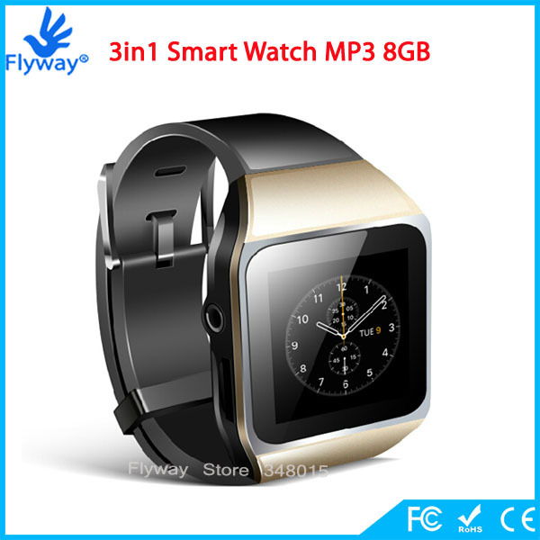 New Style 8GB Slim 1.5'' Touch Screen Bluetooth Smart Watch MP4 Player MP3 Player with Video Photo Viewer eBook Pedo Meter(China (Mainland))
