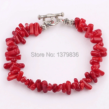 Cute Design Red Coral Branch Charm Bangle Bracelet Jewelry with Toggle Clasp Bracelet Gift for Her(China (Mainland))