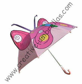 Kid animal cartoon umbrella--pink butterfly,auto open.8mm metal shaft and fluted ribs,safe&enviroment kid umbrellas(China (Mainland))