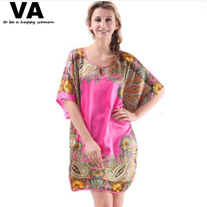 VA Big Plus Size Woman Robes Nightgown for Women Pajamas Bathrobe Stain Silk Sleepwear Nightdress Indoor Home Clothing L001(China (Mainland))