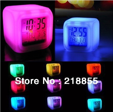 HOT SALE!!!Glowing LED Color Change Digital Alarm Mood Clock, Multifunction Led Colourful Clock,Alarm Clock,Children Gifts