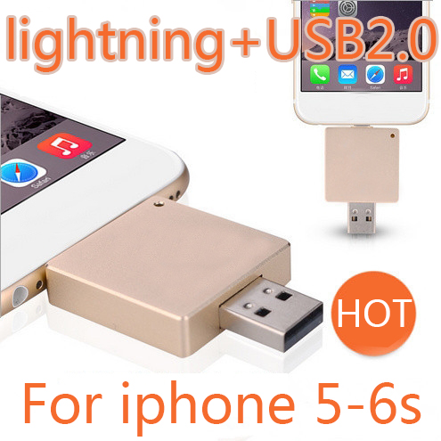 2015 Newest 2in1 USB Flash Drive For IPhone IPad, Android Phone, Computer 2.0 USB Flash Drive 512GB Pen Drive 64GB 128GB Gift(China (Mainland))