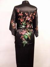 Free Shipping Black Chinese Women's Satin Silk Embroidery Robe Kimono Bath Gown Flower Size S M L XL XXL XXXL W3S002(China (Mainland))