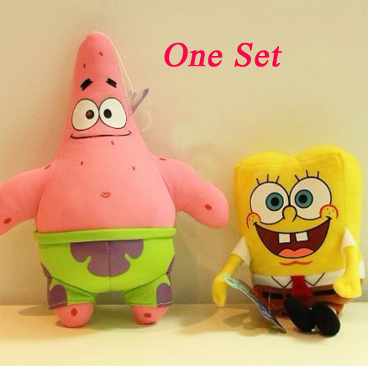 23CM 2pcs/lot Cartoon Animal Doll Toy Stuffed and Plush Toys SpongeBob and Patrick Star Free Shipping NT046E(China (Mainland))
