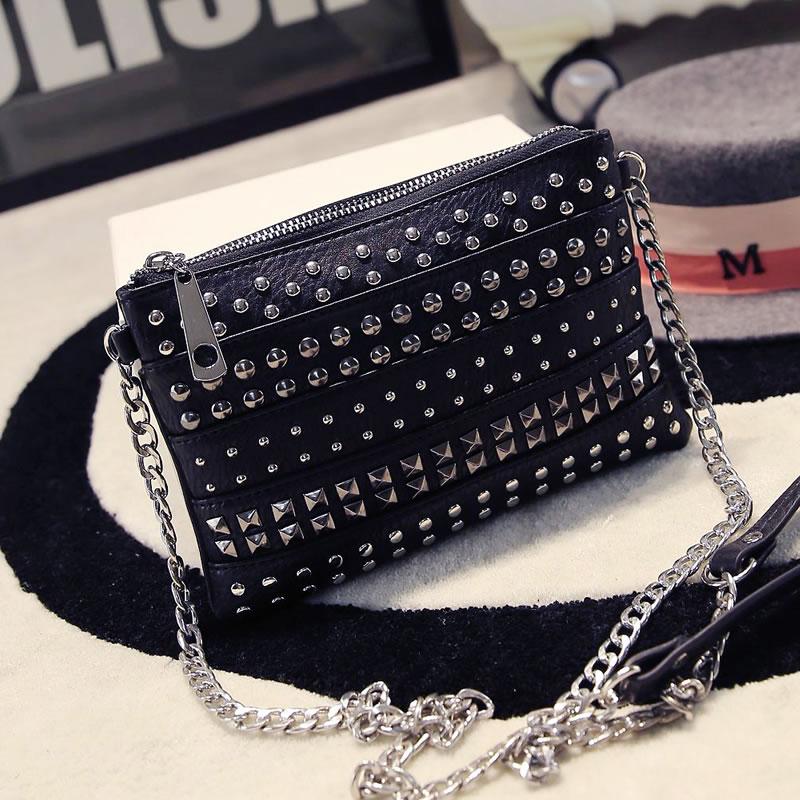 Fashion Rivet Punk Bag High Quality Designer Envelope Bag Gold Evening Clutch Lady PU Solid Shoulder Bags<br><br>Aliexpress
