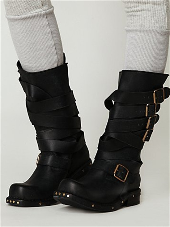 Black Combat Boots With Buckles - Cr Boot
