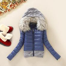 CWLSP 2014 Winter Thickening With a Hood Short Design Wadded Jacket Large Fur Collar Down Jacket Cotton-Padded Fur Collar LG222(China (Mainland))
