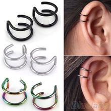 Men's Women's Clip-on Earrings Non-piercing Ear Cartilage Cuff Eardrop Ear Clip  4XJ4(China (Mainland))