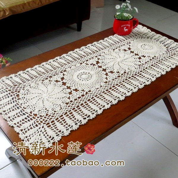 free shipping cotton lace table runner crochet table cloth ...