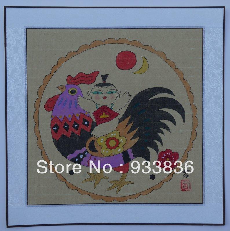 chinois peinture b b coq 16 x 16 asiatique aquarelle encre brosse art contemporain pas cher. Black Bedroom Furniture Sets. Home Design Ideas